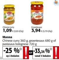 Manna chinese curry, groentesaus of pastasaus bolognese-Manna