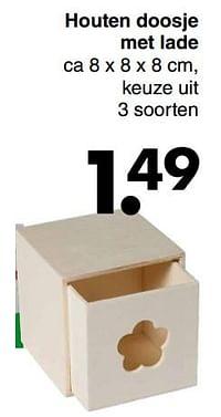 Houten doosje met lade-Huismerk - Wibra