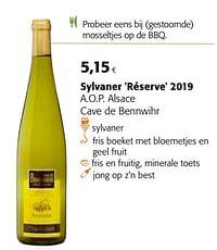 Sylvaner réserve 2019 a.o.p. alsace cave de bennwihr-Witte wijnen