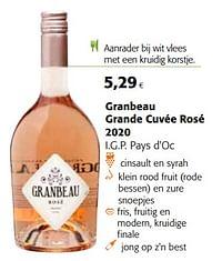 Granbeau grande cuvée rosé 2020 i.g.p. pays d`oc-Rosé wijnen
