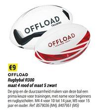 Rugbybal r300 maat 4 rood of maat 5 zwart-OFFLOAD