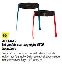 Set gordels voor flag rugby r500 blauw-rood-OFFLOAD