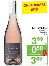 Igp pays d`oc campestre pinot noir rosé-Rosé wijnen