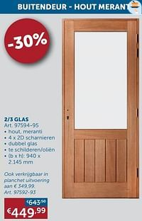Buitendeur - hout meranti 2-3 glas-Huismerk - Zelfbouwmarkt