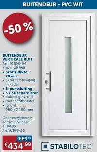 Buitendeur verticale ruit-Stabilotec