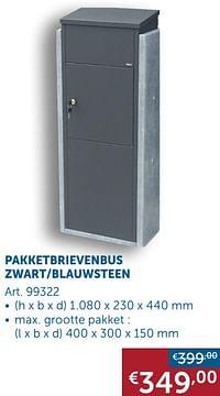 Pakketbrievenbus zwart-blauwsteen-Huismerk - Zelfbouwmarkt