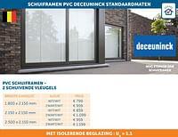 Schuiframen pvc deceuninck standaardmaten-Deceuninck