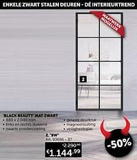 Stalen deur 8w glas black beauty mat zwart-Huismerk - Zelfbouwmarkt