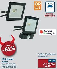 Led straler zwart 30w met sensor-Huismerk - Zelfbouwmarkt