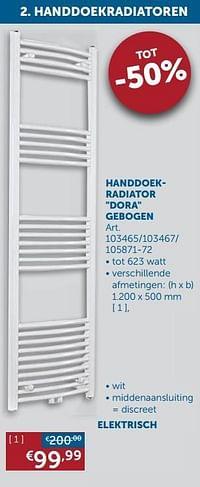 Handdoekradiator dora gebogen-Beauheat