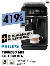 Philips espresso met koffiemolen ep2230-10 lattego-Philips