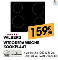 Valberg vitrokeramische kookplaat valtv4af-Valberg