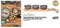 Geschenkset lines of cross 2 schaaltjes op plank-Bowls & Dishes