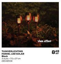 Tuinverlichting fakkel led solar black-LUMINEO