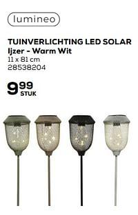 Tuinverlichting led solar ijzer - warm wit-LUMINEO