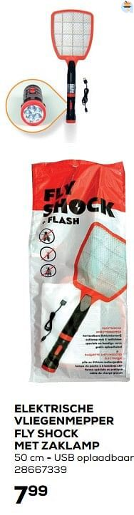 Elektrische vliegenmepper fly shock met zaklamp-FlyShock