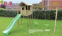 Houten speeltoren lucas met glijbaan en schommel-BNB Wood