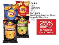 Chips lay`s 25% korting bij aankoop van 4 zakken-Lay