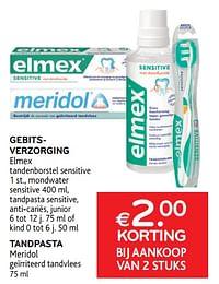 Gebitsverzorging elmex + tandpasta meridol €2. 00 korting bij aankoop van 2 stuks-Huismerk - Alvo