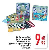 Boîte en métal, jeux de société metalen doos, gezelschapsspelletjes 8 en - in 1-Huismerk - Cora