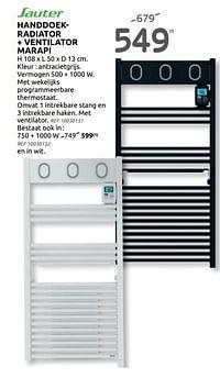 Handdoekradiator + ventilator marapi-Sauter