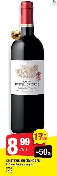 Saint emilion grand cru château destieux veyrac rood 2016-Rode wijnen