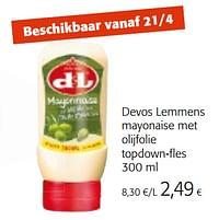 Devos lemmens mayonaise met olijfolie topdown-fles-Devos Lemmens