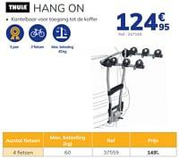 Hangende trekhaakfietsendrager hang on-Thule