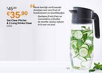 Set clear pitcher + 2 long drinks clear-Huismerk - Tupperware