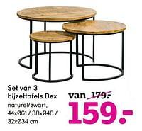 Set van 3 bijzettafels dex-Huismerk - Leen Bakker