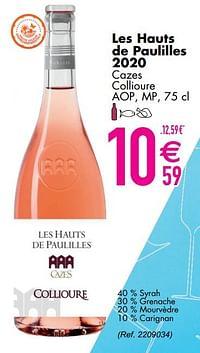 Les hauts de paulilles 2020 cazes collioure aop, mp-Rosé wijnen