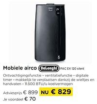 Mobiele airco delonghi pac ex 120 silent-Delonghi