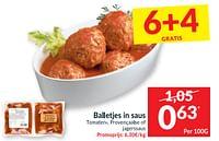 Balletjes in saus tomaten- provençaalse of jagerssaus-Huismerk - Intermarche