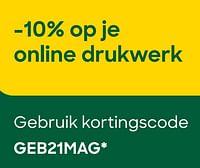 -10% op je online drukwerk gebruik kortingscode geb21mag-Huismerk - Ava