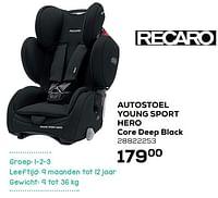 Autostoel young sport hero core deep black-Recaro