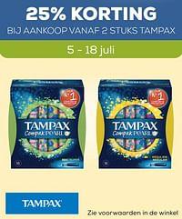 25% korting bij aankoop vanaf 2 stuks tampax-Tampax