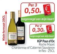 Igp pays d`oc roche mazet chardonnay of cabernet sauvignon-Witte wijnen