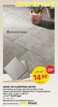 Wand- en vloertegel beton-Huismerk - Brico