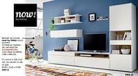 Tv-wand in lak mat wit, accenten in eik of grijs-Huismerk - Krea - Colifac
