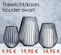 Theelicht-kaars houder zwart-Huismerk - Krea - Colifac