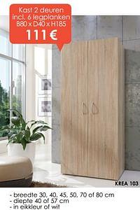 Kast 2 deuren 6 legplanken-Huismerk - Krea - Colifac