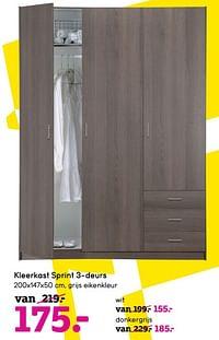 Kleerkast sprint 3-deurs-Huismerk - Leen Bakker