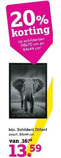 Schilderij olifant-Huismerk - Leen Bakker