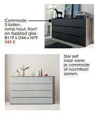 Commode 3 laden, romp hout, front en topblad glas-Huismerk - Krea - Colifac