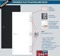 Invisible flat plaatsklare deur wit-Huismerk - Zelfbouwmarkt
