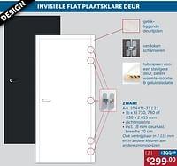 Invisible flat plaatsklare deur zwart-Huismerk - Zelfbouwmarkt