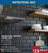Wandtegel metro zwart mat-Huismerk - Zelfbouwmarkt