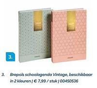Brepols schoolagenda vintage, beschikbaar in 2 kleuren-Brepols