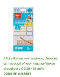 Apli etiketten voor vaatwas, diepvries en microgolf of voor wasmachine en droogkast-Apli