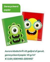 Aurora kladschrift a5 gelijnd of geruit, gerecycleerd papier-Aurora